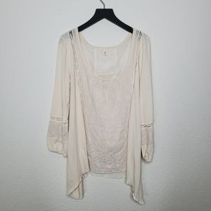 Anthro • TINY Cream Asymmetrical Lace Blouse